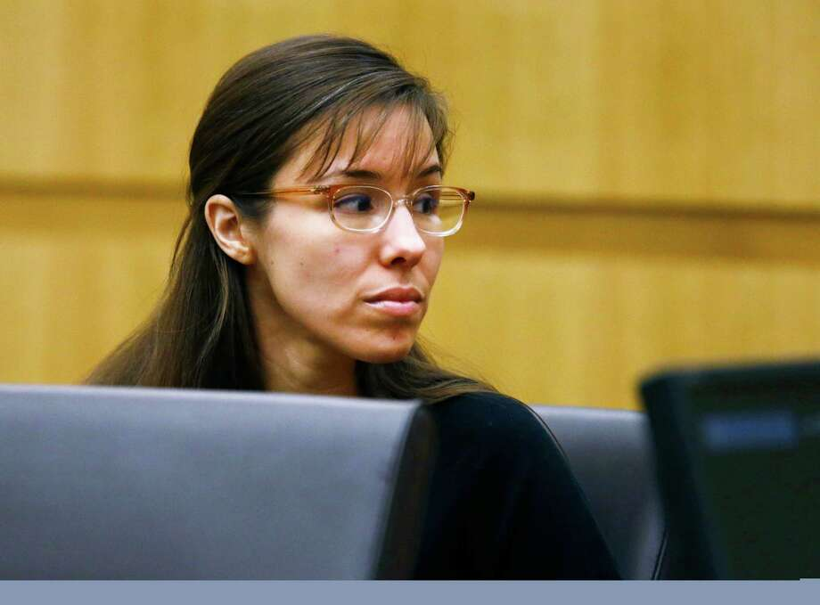 Defendant Jodi Arias looks to her family during closing arguments during her trial on Friday, May 3, 2013 at Maricopa County Superior Court in Phoenix.  Arias is charged with first-degree murder in the stabbing and shooting death of Travis Alexander, 30, in his suburban Phoenix home in June 2008. Photo: AP