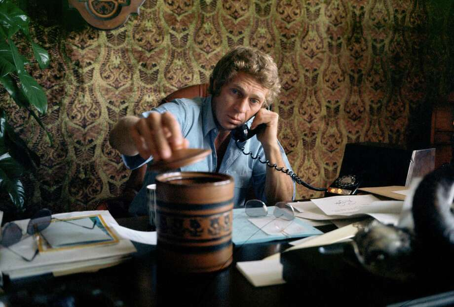 American tough guy actor Steve McQueen in his Hollywood production offices. Photo: Terry O'Neill, Getty / Firepine Ltd