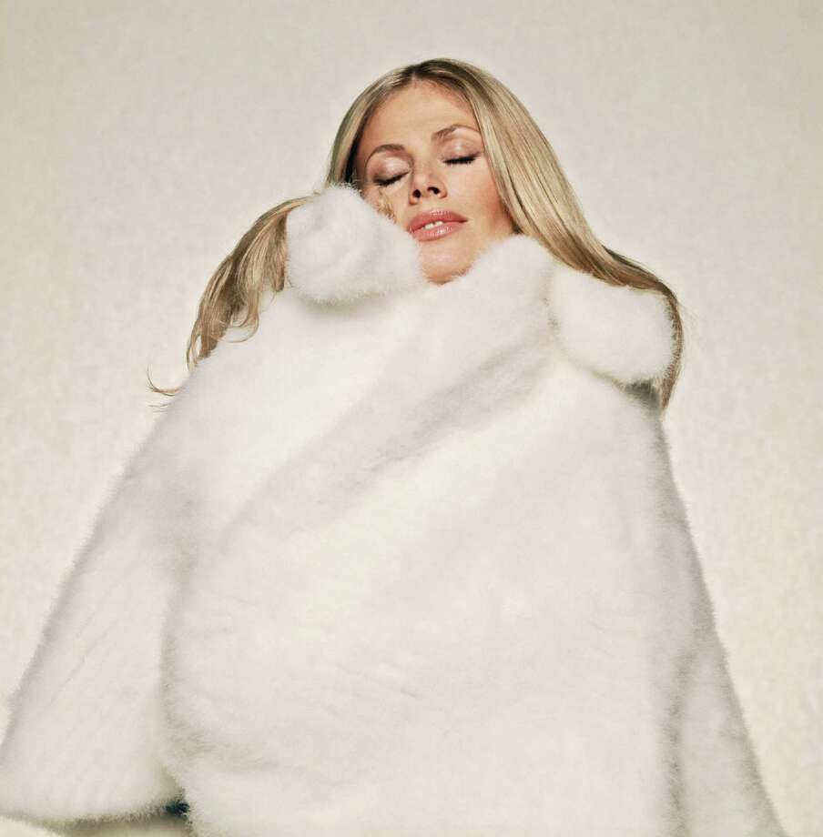 Swedish actress Britt Ekland luxuriates in fur, circa 1980. Photo: Terry O'Neill, Getty / 2007 Getty Images
