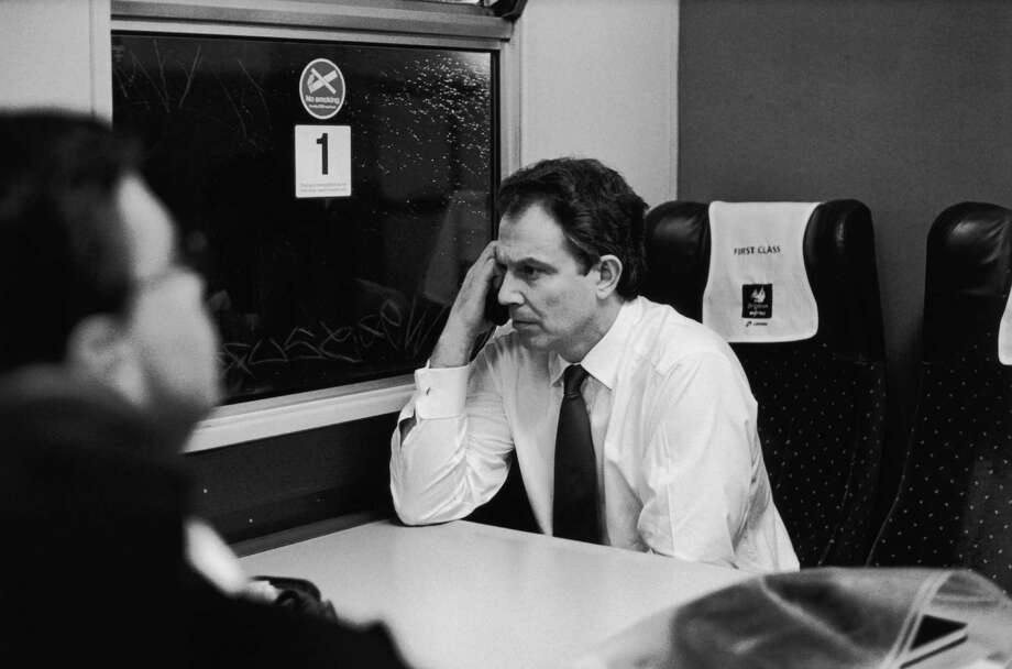 Labour politician Tony Blair looking thoughtful during a train journey, circa 1997. Photo: Terry O'Neill, Getty / 2005 Getty Images