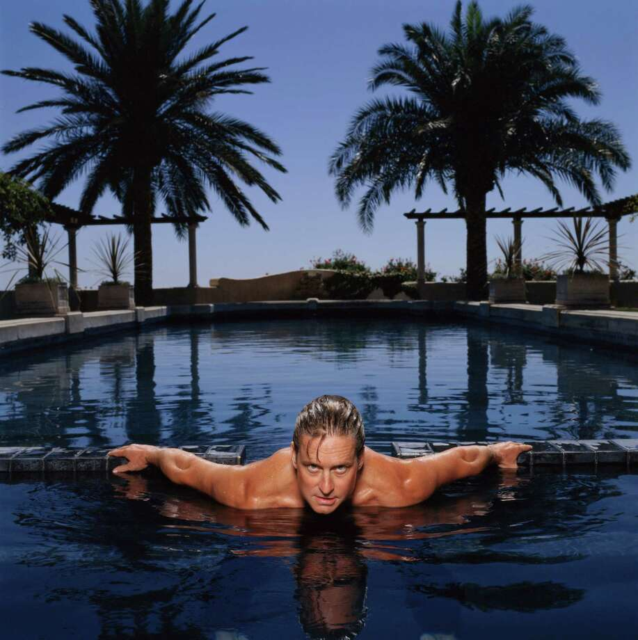 American actor Michael Douglas looks intense in a swimming pool in Santa Barbara, 1988. Photo: Krause, Johansen, Getty / 2005 Getty Images