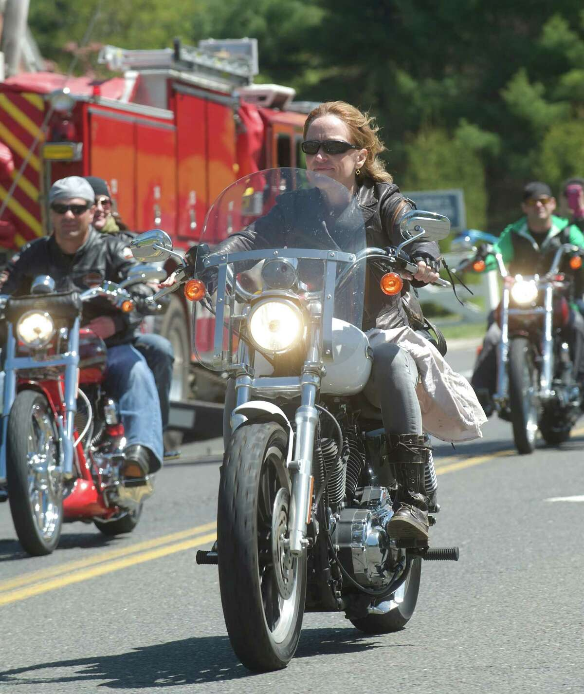 Riders in the Green Ribbon Ride pass through Newtown, Conn on Sunday, May 5th, 2013.