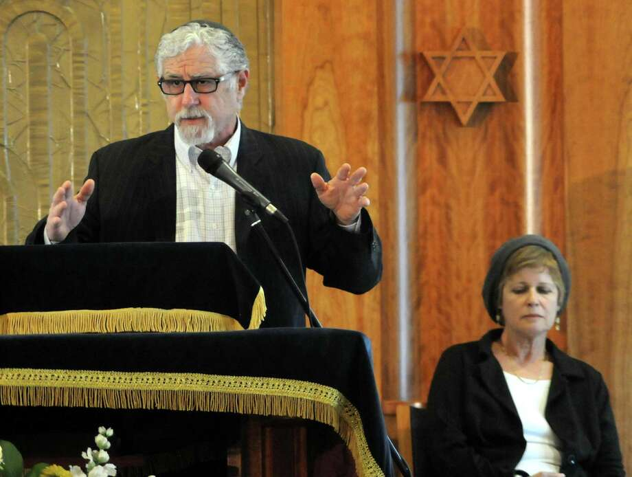 Rabbi Seth and Sherri Mandell from Israel where guest speakers at Congregation Adath Israel in Newtown on Sunday May 5, 2013. The Mandells lost their 13-year-old son, Koby, in 2001 in an act of violence and have formed a foundation in his name to help other children and grieving parents. Photo: Lisa Weir / The News-Times Freelance