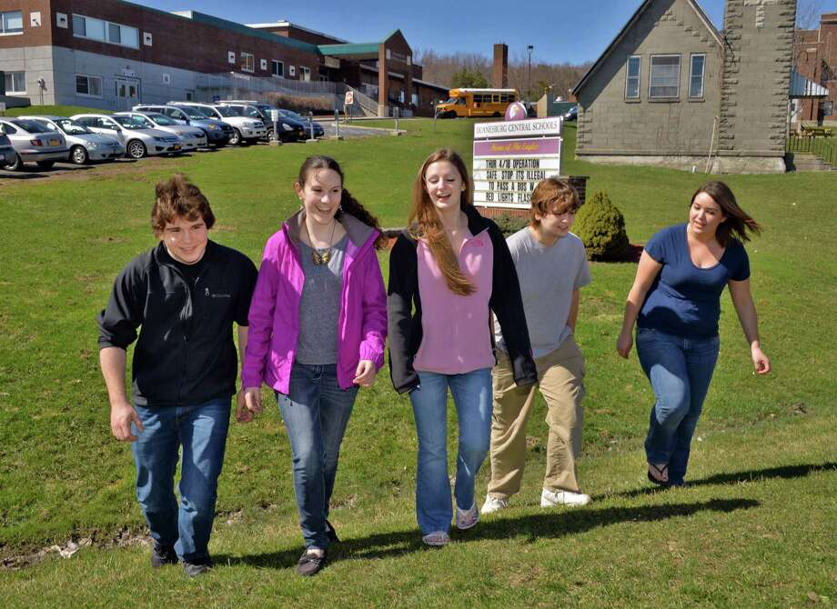Students (from left) Jacob Tanzman, Carissa Baum, Jamie Peters, Zack Frey and Katie Todd outside Duanesburg High School in Delanson, NY Wednesday April 17, 2013. (John Carl D'Annibale / Times Union) Photo: John Carl D'Annibale / 10021980A