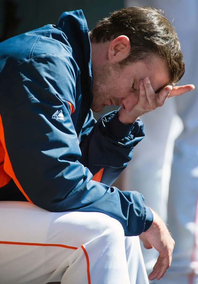 Astros starting pitcher Philip Humber gave up eight runs in four innings for the loss. Photo: Smiley N. Pool, Houston Chronicle