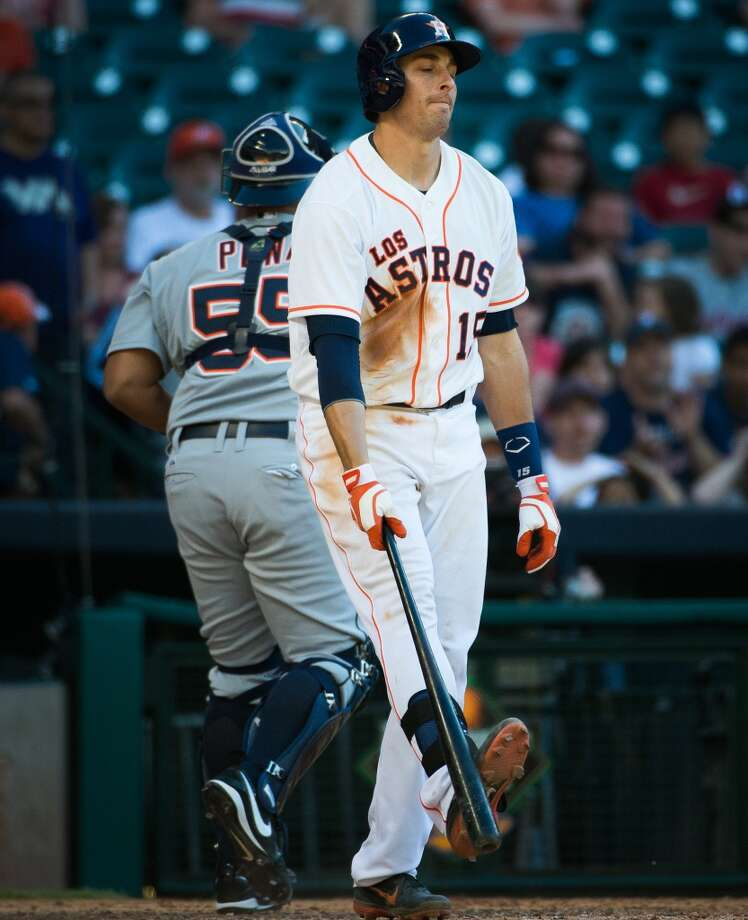 Astros catcher Jason Castro reacts after striking out with the bases loaded to end the eighth inning.
