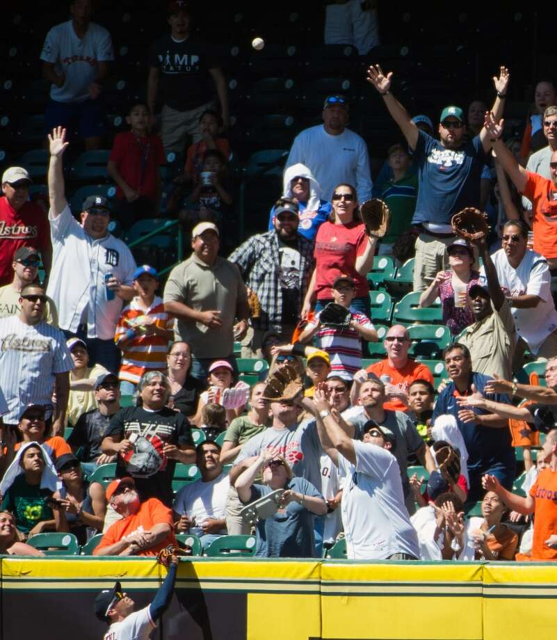 Astros right fielder Rick Ankiel watches as a two-run home run by Tigers first baseman Prince Fielder sails into the seats.