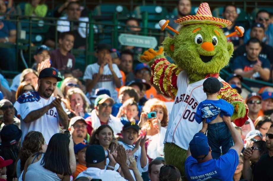 Astros mascot Orbit sports a sombrero in recognition of Cinco de Mayo.