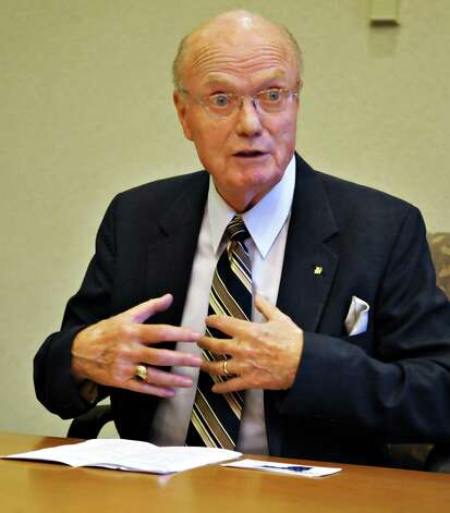 NYS Senator Hugh Farley addresses the Times Union editorial board in 2010.  (John Carl D'Annibale / Times Union) Photo: John Carl D'Annibale