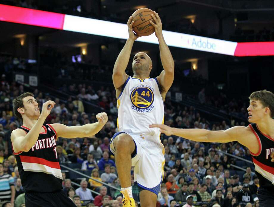 """Warriors 32-year-old forward Richard Jefferson (44) averaged a career-low 10.1 minutes and 3.1 points during the regular season. """"I don't feel like an old guy; just another basketball player,"""" he said. Photo: Lance Iversen /"""