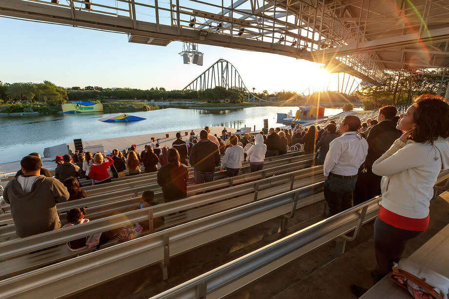 SeaWorld San Antonio holds a sunrise service featuring worship by Shane & Shane and a message by Pastor Mike Hooper Jr. at SeaWorld's Ski Stadium on Sunday. Photo: Photos By Marvin Pfeiffer / San Antonio Express-News