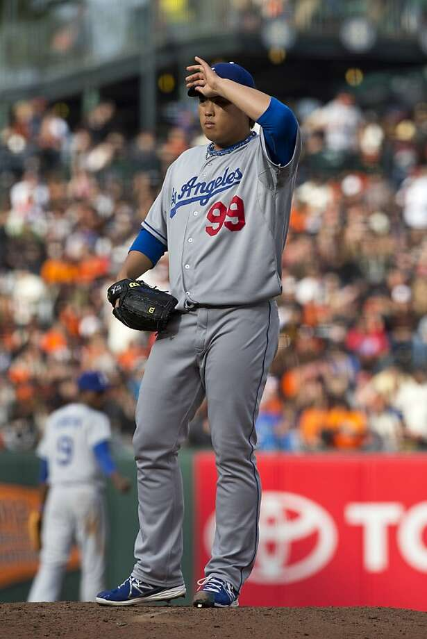 SAN FRANCISCO, CA - MAY 05:  Hyun-Jin Ryu #99 of the Los Angeles Dodgers stands on the pitchers mound against the San Francisco Giants during the third inning at AT&T Park on May 5, 2013 in San Francisco, California. (Photo by Jason O. Watson/Getty Images) Photo: Jason O. Watson, Getty Images