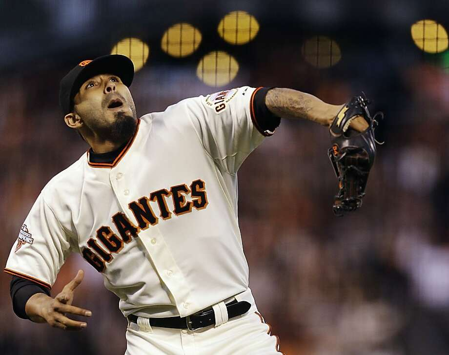 San Francisco Giants' Sergio Romo celebrates at the end of a baseball game against the Los Angeles Dodgers, Sunday, May 5, 2013, in San Francisco. The Giants won 4-3 to sweep the three-game series. (AP Photo/Ben Margot) Photo: Ben Margot, Associated Press