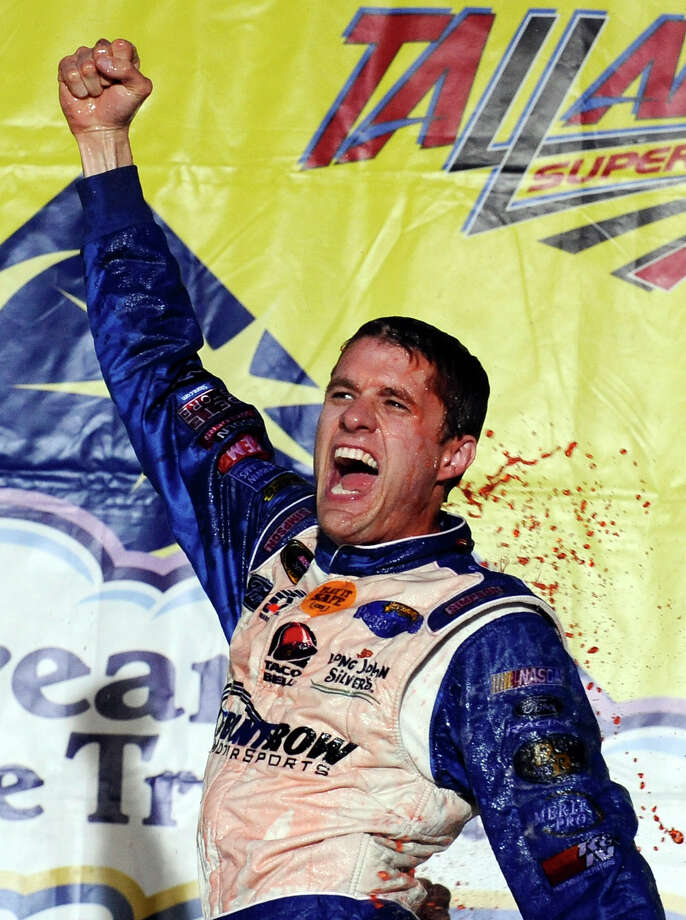 David Ragan shows what winning a Sprint Cup race at Talladega Superspeedway will do to a driver. Photo: Rainier Ehrhardt, FRE / FR155191 AP