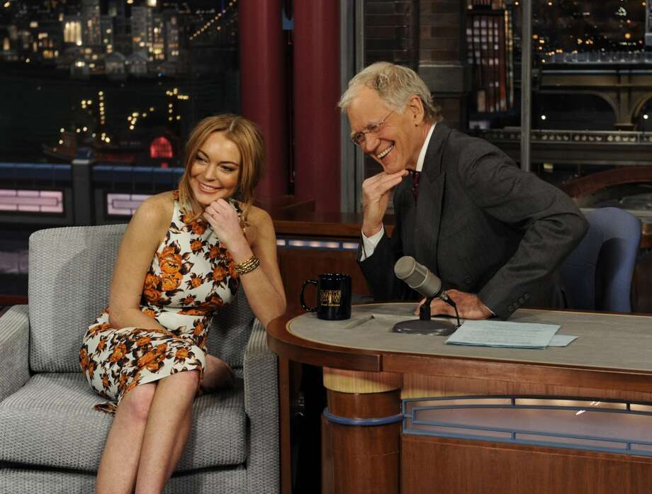 Lindsay Lohan with David Letterman.