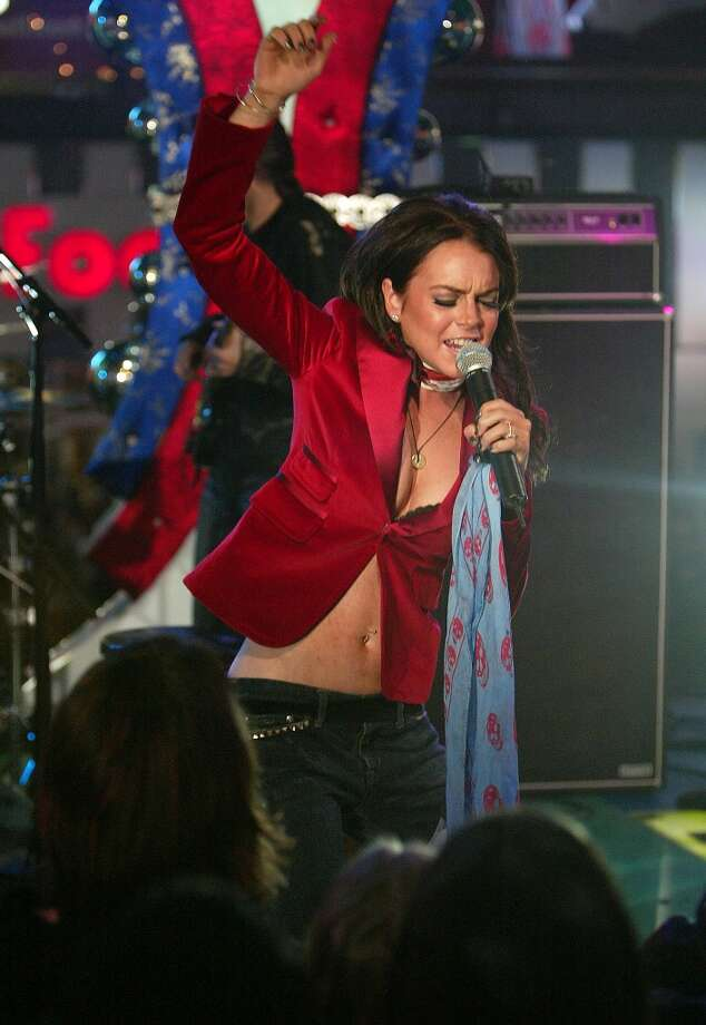 Singer Lindsay Lohan makes an appearance at MTV's Total Request Live on Nov. 11, 2005.