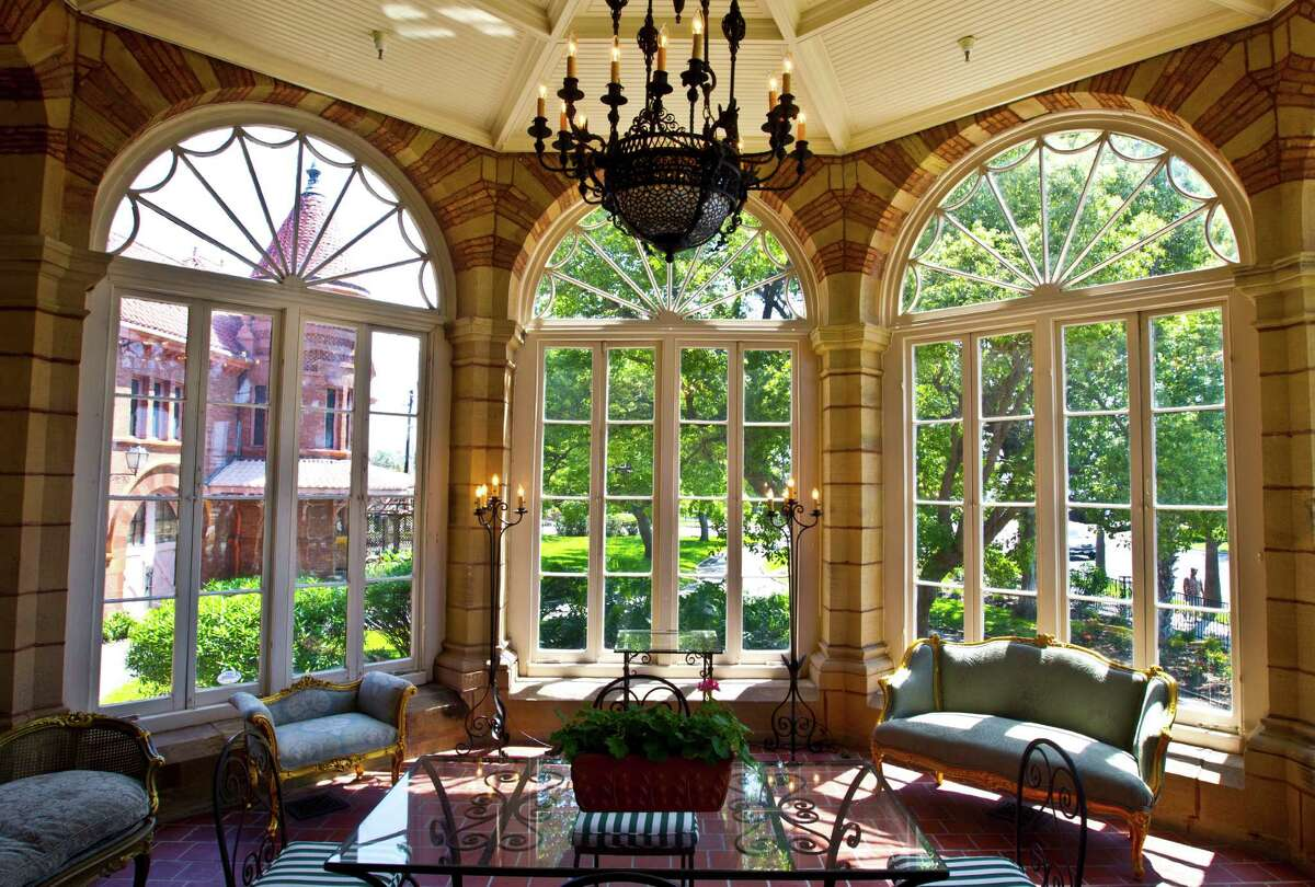 The sunroom of Open Gates mansion in Galveston features panoramic views.