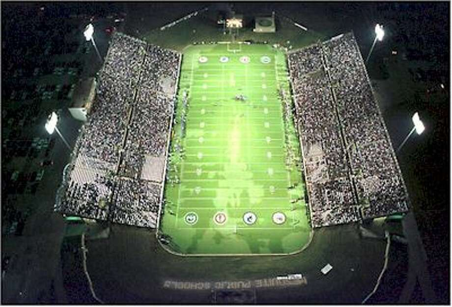 Mesquite Memorial Stadium: The stadium outside of Dallas can seat 20,000 people on Friday nights and is the third largest stadium.