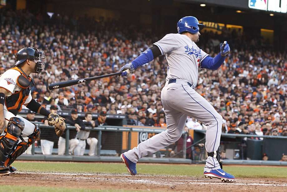 SAN FRANCISCO, CA - MAY 05: Adrian Gonzalez #23 of the Los Angeles Dodgers hits a two RBI single against the San Francisco Giants during the eighth inning at AT&T Park on May 5, 2013 in San Francisco, California. (Photo by Jason O. Watson/Getty Images) Photo: Jason O. Watson, Getty Images