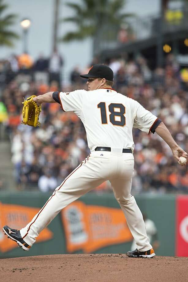 SAN FRANCISCO, CA - MAY 05: Matt Cain #18 of the San Francisco Giants pitches against the Los Angeles Dodgers during the first inning at AT&T Park on May 5, 2013 in San Francisco, California. (Photo by Jason O. Watson/Getty Images) Photo: Jason O. Watson, Getty Images