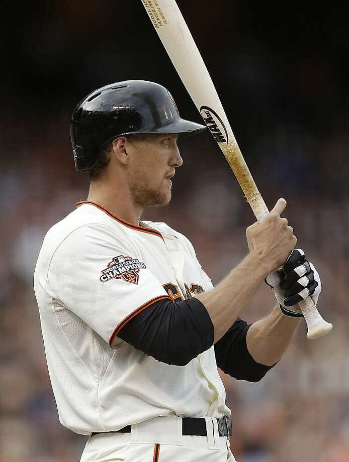 San Francisco Giants' Hunter Pence prepares to bat in the first inning of a baseball game against the Los Angeles Dodgers, Sunday, May 5, 2013, in San Francisco. (AP Photo/Ben Margot) Photo: Ben Margot, Associated Press