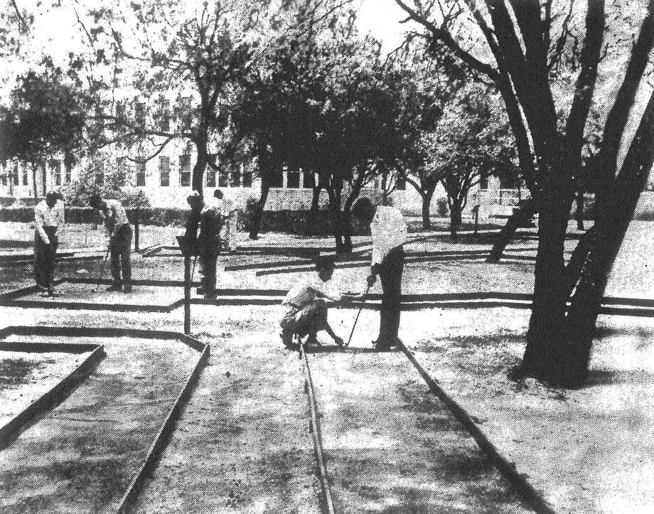 Patients at the San Antonio State Hospital have added miniature golf to their list of recreational facilities. And they built the nine-hole course themselves. Published in the San Antonio Light May 6, 1953. Photo: File Photo