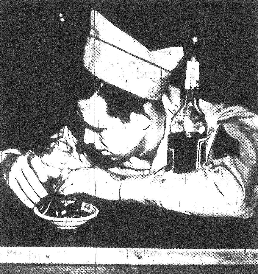 "The GI who imbibes too freely invites trouble from ""sharpies"" who have a whole repertoire of tricks to play on the uninitiated. Cold sober, but purposely playing the role of a drunk, is Sgt. 1st Cl. Edwin Palmer. Published in the San Antonio Express May 5, 1953. Photo: File Photo"