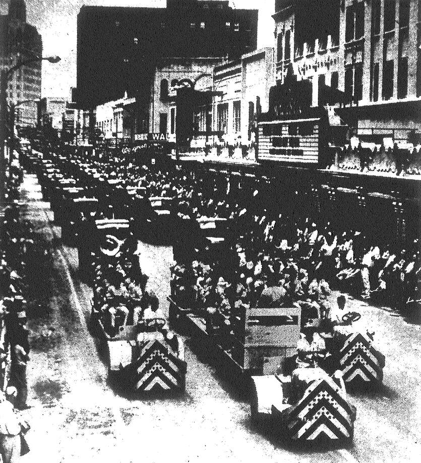 Tens of thousands lined Houston Street for Saturday's Armed Forces Day Parade. Three thousand troops and civilians participated in the parade. Published in the San Antonio Light May 17, 1953. Photo: File Photo