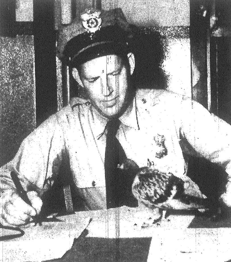 "A stool pigeon, genuine with feathers, gives his confidential information to Officer H.C. Pletz after the cop's best friend wandered in the front door of San Antonio police detective headquarters Monday night. Officers found the bird hopping up the stairs and brought him first to the press room, where reporters cornered the ""stoolie."" The pigeon reportedly belongs to the flock which makes its home in the Courthouse's mock belfry. Published in the San Antonio Express May 26, 1953. Photo: File Photo"