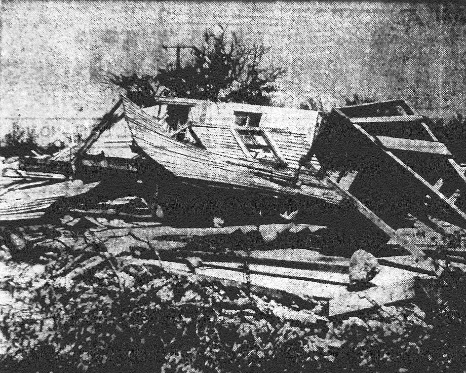 This is all that remains of the Harry Dancey residence are a tornado crumpled the two-story frame house in the Scenic Loop area north of Helotes on April 28. Published in the San Antonio Light May 24, 1953. Photo: File Photo