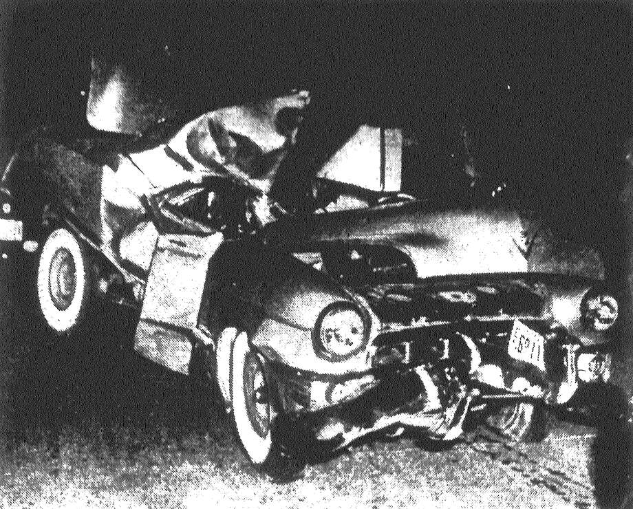 Fred W. Ezell, 58, was killed when his car went out of control and crashed into a center support at the Missouri Pacific tracks underpass near Colorado Street. Published in the San Antonio Light May 24, 1953. Photo: File Photo