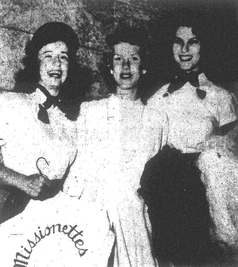 The Missionettes is the name of the new female cheering section for the San Antonio Missions. Here are three of the girls (from left): Anne Harrison, Valerie Martin and Judy Campbell. Published in the San Antonio Express May 31, 1953. Photo: File Photo