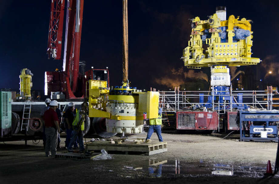 The MWCC capping stack was prepared for pre-deployment testing at the Houston ship channel prior to deployment. Photo: Marine Well Containment Company
