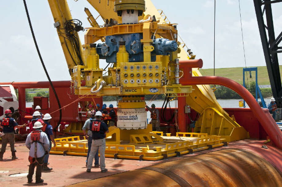 The MWCC capping stack was lowered onto a shipping stand on the Laney Chouest before undergoing a simulated deployment and then sea fastening for departure offshore. Photo: Marine Well Containment Company
