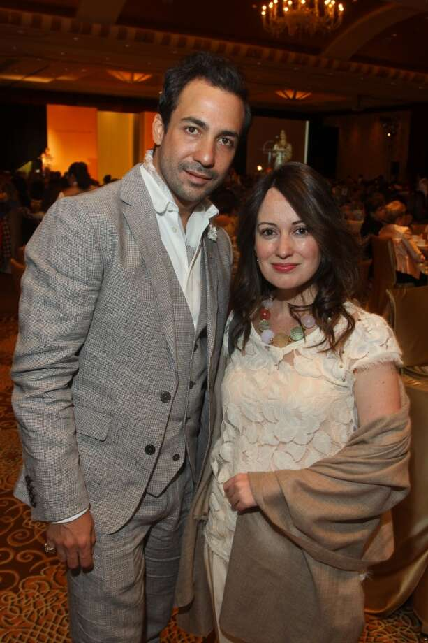 Designer Alejandro Carlin and Andrea Delgado at the Latin Women's Initiative luncheon and fashion show.