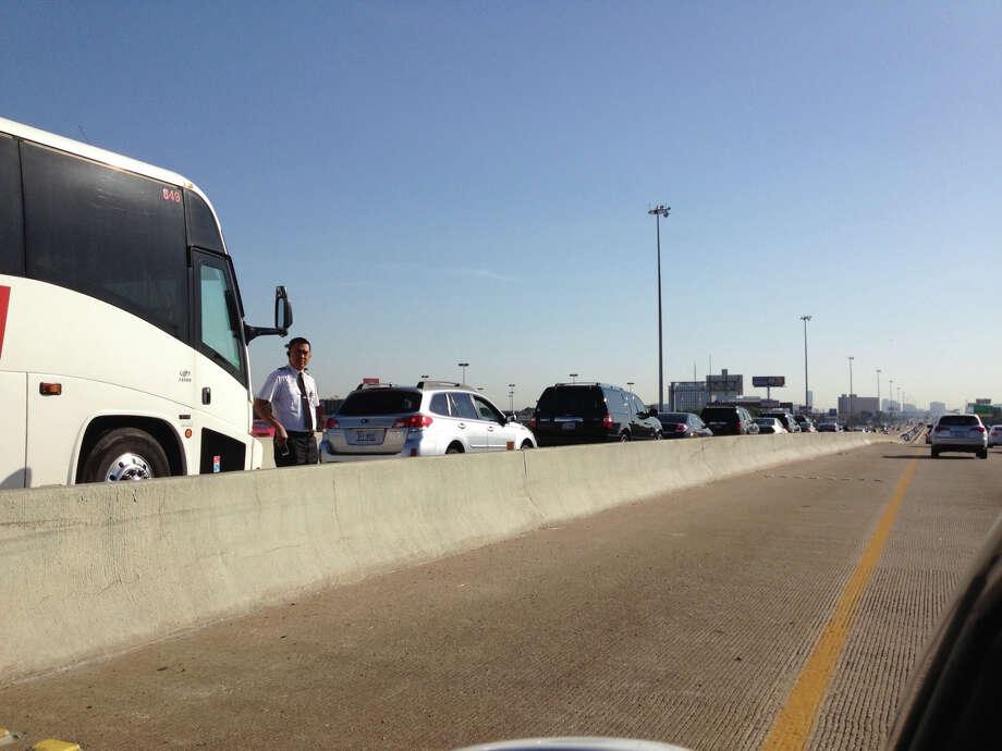 A crash snarled traffic into the city Monday morning, May 6, 2013. Photo: By Cory Heikkila