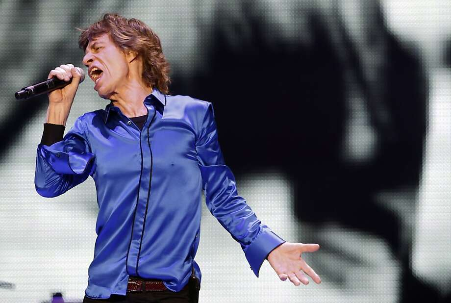Mick Jagger didn't stop prancing about during the Rolling Stones' 2 1/2-hour concert at Oracle Arena. Photo: Carlos Avila Gonzalez, The Chronicle
