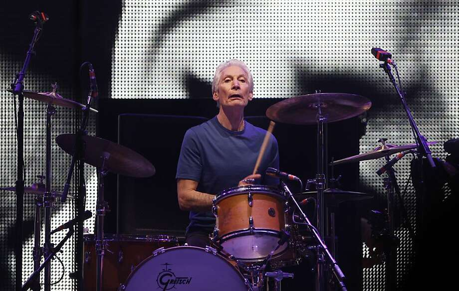 Charlie Watts on the drums during the Rolling Stones performance on Sunday. The Rolling Stones played the Oracle Arena in Oakland, Calif., on Sunday, May 5, 2013, as part of their 50th anniversary tour. Photo: Carlos Avila Gonzalez, The Chronicle