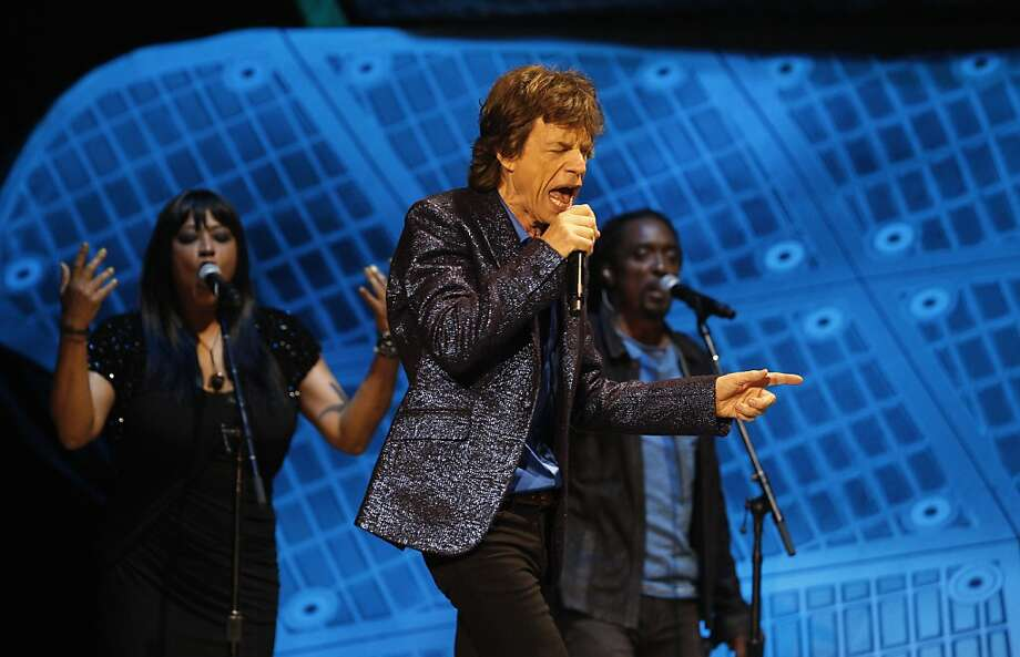 Mick Jagger of the Rolling Stones performs on stage on Sunday. The Rolling Stones played the Oracle Arena in Oakland, Calif., on Sunday, May 5, 2013, as part of their 50th anniversary tour. Photo: Carlos Avila Gonzalez, The Chronicle