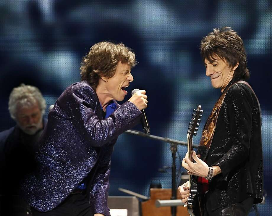 Mick Jagger and Ron Wood of the Rolling Stones performs on stage on Sunday. The Rolling Stones played the Oracle Arena in Oakland, Calif., on Sunday, May 5, 2013, as part of their 50th anniversary tour. Photo: Carlos Avila Gonzalez, The Chronicle