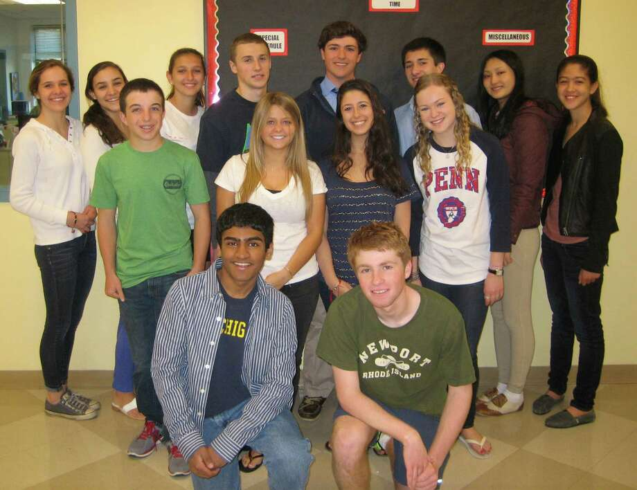 STAPLES STUDENT OF THE MONTH Staples High School honored 14 pupils as Students of the Month for May. The designation honors students who practice good citizenship and honor all of their commitments but might not otherwise be recognized. Front row, from left: Vignesch Namasivayam and Brian Saunders. Middle row: Zachary Steuer, Claire Carroll, Julia Kaner and Danielle Frost. Back row: Carley Brockwell, Lauren Exposito, Samantha Kratky, Eric Lederer, Eric Hawes, Paul Bowlin, Casey Lu & Julia Schorr. Honored but missing from the photo is Shanaisha Smith. Photo: Contributed Photo / Westport News