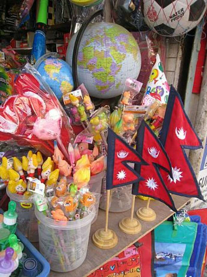 Display in a novelty store along New Road, Katmandu, featuring the Nepali flag.