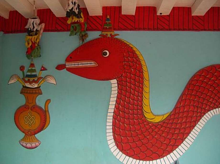 A mural of a naga, or snake god, in Patan, Kathmandu Valley.