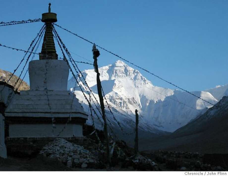 The Rongbuk Monastery and the north face of Everest.
