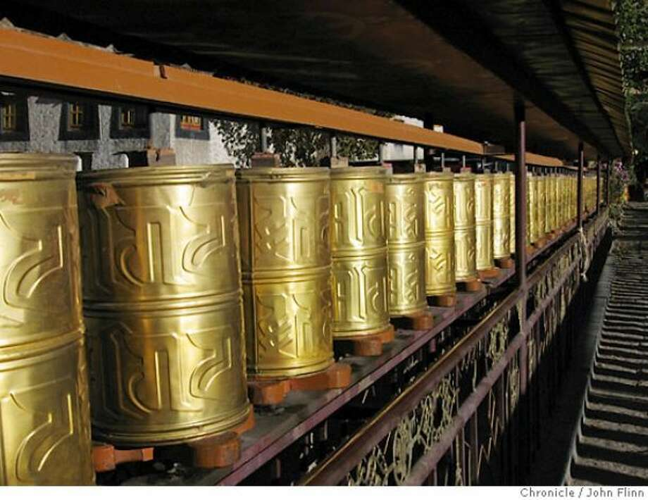 Prayer wheels outside the Gyantse Kumbum.