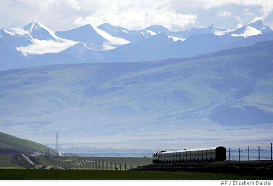 The Beijing to Lhasa express makes its way across the valley close to the town of Naqu in Tibet, China
