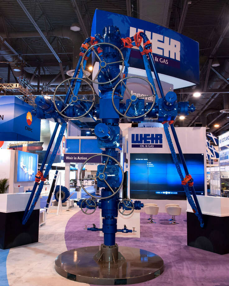 Weir Oil & Gas features their surface control offering from the Seaboard wellhead and frac stack to SPM flow iron and safety restraints, which is over 15ft high. Photo: Weir Oil & Gas