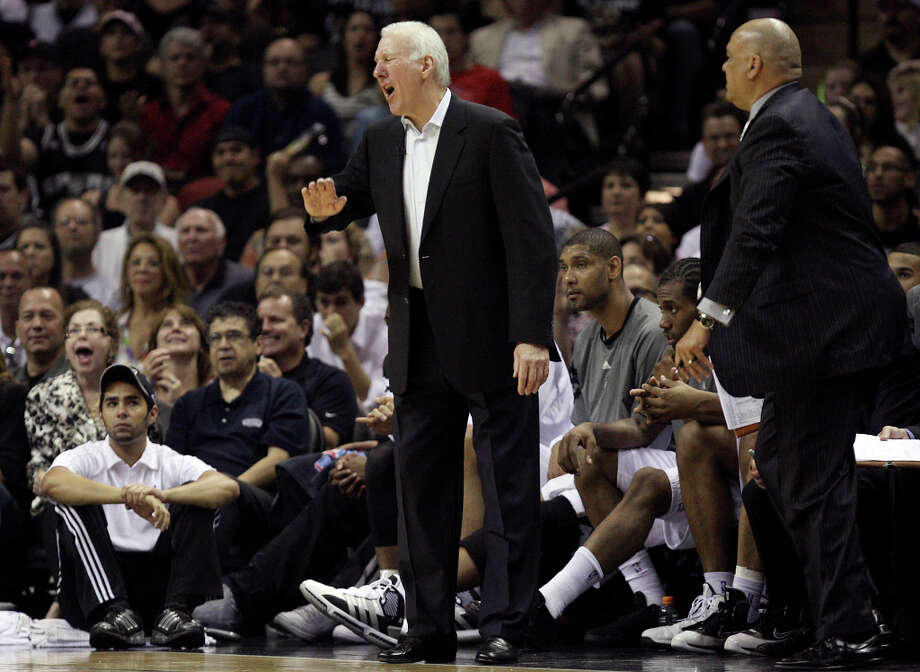 SPURS -- San Antonio Spurs Head Coach Gregg Popovich gets a technical foul during the second half of game one of the Western Conference first round at the AT&T Center, Sunday, April 29, 2012. The Spurs beat the Utah Jazz, 106-91, to lead the series 1-0. Jerry Lara/San Antonio Express-News Photo: Jerry Lara, San Antonio Express-News / © San Antonio Express-News