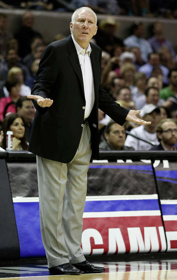 San Antonio Spurs head coach Gregg Popovich reacts to a call during their game against the Los Angeles Clippers in game one of the Western Conference semifinals at AT&T Center, Tuesday, May 15, 2012. Jerry Lara/San Antonio Express-News Photo: Jerry Lara, San Antonio Express-News / © San Antonio Express-News