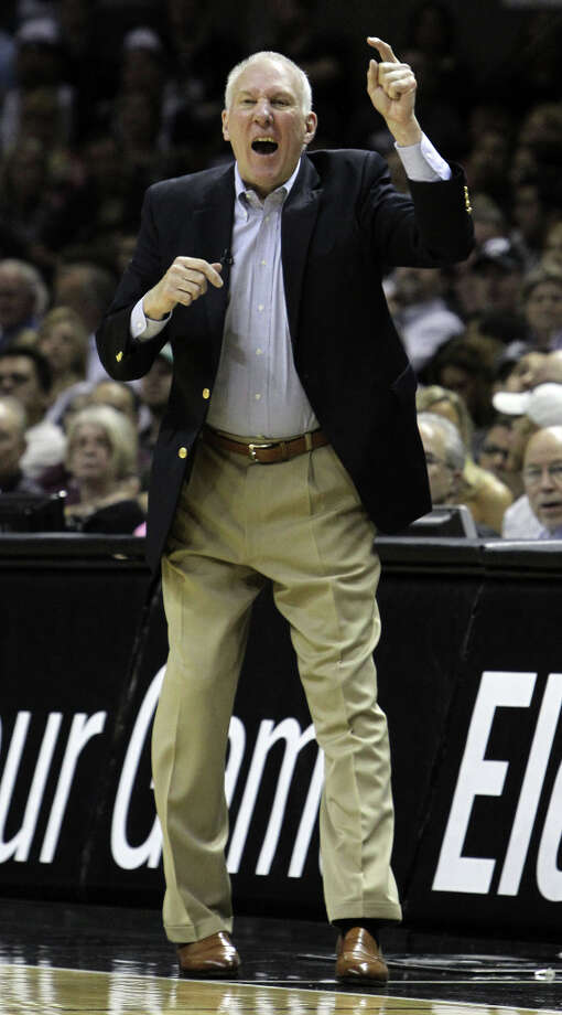 San Antonio Spurs coach Gregg Popovich gestures in the first half of game two of the Western Conference semifinals at the AT&T Center on Thursday, May 17, 2012. Kin Man Hui/Express-News Photo: Kin Man Hui, SAN ANTONIO EXPRESS-NEWS / San Antonio Express-News